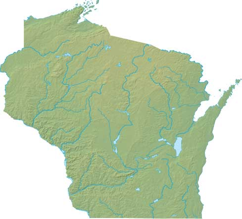 Wisconsin relief map